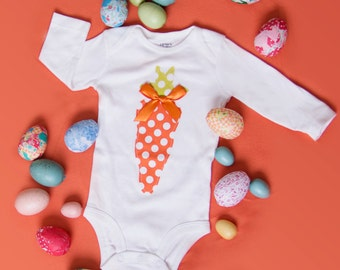 Easter Carrot Bodysuit Size preemie to 24 month bodysuit or size 2, 4, 6, or 8 shirt