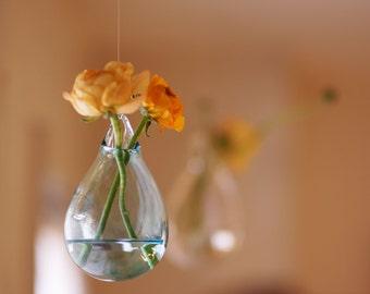 Hanging Glass Flower Vase / Hand Blown Glass Art / Transparent Pale Blue / Wall Decor / Wall Art