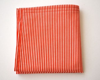 Pocket Square- Red and White Stripe