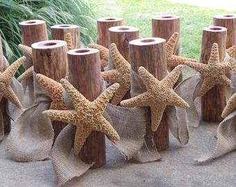 12 Beach Wedding Centerpiece, Log Candle Holder, Sugar Starfish Decor