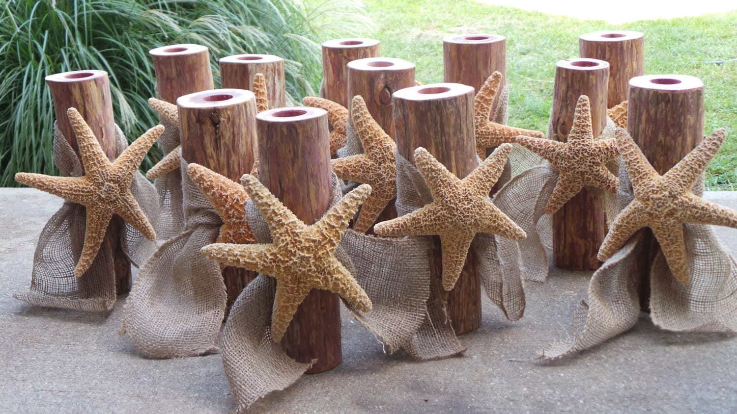 Beach wedding centerpiece log candle holder sugar