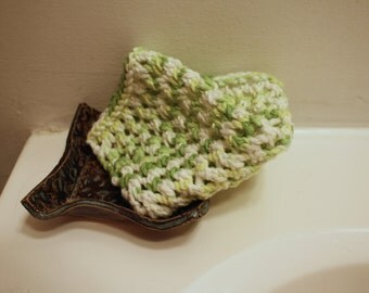 Cotton Dish Cloth Cotton Knit Lace Yellow Green White Kitchen Accessories Reusable Eco Friendly Green Earth Cottage