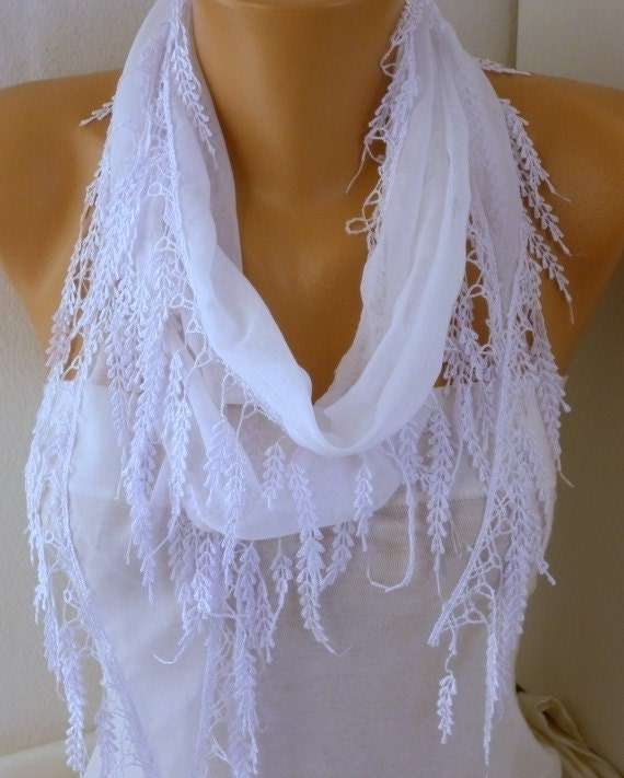 White Scarf  Fringe Scarf  Cotton  Scarf  Cowl Bridal accessories - Bridesmaids Gifts For Her Fashion Accessories best selling item scarf