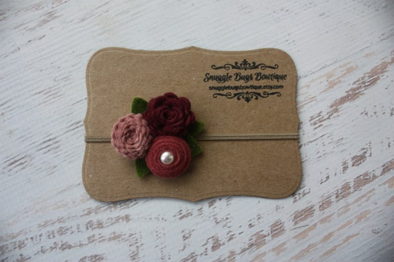 Mixed Felt Flower Bouquet in Wine, Cameo PInk and Mauve- Fall Flower Headband - Photo Prop - SBB Original