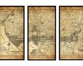 Washington DC Street Map Triptych Map Vintage Print Poster Grunge Sepia