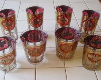 Vintage Cora Barware Set - 4 Highball/Tumblers and 4 Rocks Glasses Gold Leaf Fruit Motif