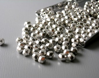 SPACER-AS-BC-4MM - 30 pcs 4mm Antiqued Silver Bicone Faceted Spacer