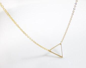 Gold triangle necklace, geometric, arrow head, delta, minimalist
