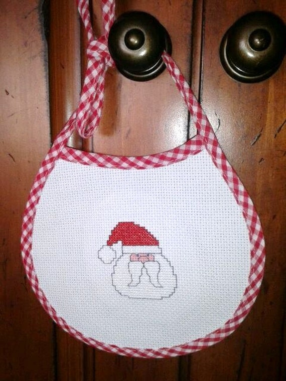 Santa claus baby bib completed counted cross stitch