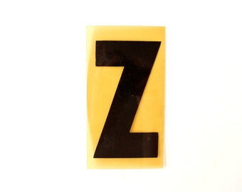 "Vintage Industrial Marquee Sign Letter ""Z"", Black on Yellow Flexible Plastic (7 inches tall) - Industrial Decor, Art Assemblage Supply"