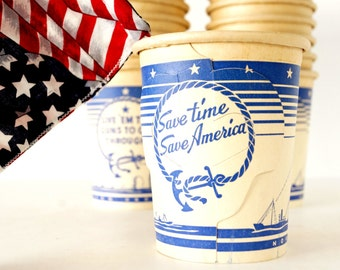 "Vintage ""Save Time, Save America"" World War II Paper Coffee Cup with Fold Out Handles (c.1940s) - Hard-to-Find Collectible, Patriotic Decor"