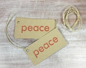 10 Letterpress Holiday Christmas Gift Tags // Peace in red ink