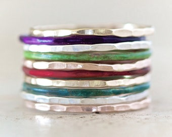 Patina Stacking Rings / Silver Gold Rose Purple Green Red Blue Stacking Ring / Stackable / Stack Rings / Empowering Spring Jewelry