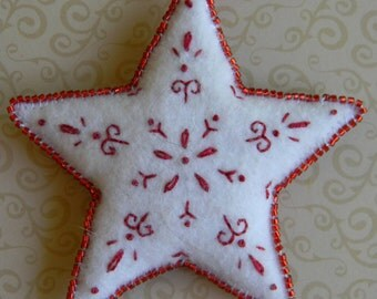 red and white Christmas star ornament