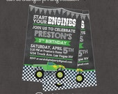 Chalk Monster Truck Invitation 4x6 or 5x7 digital you print your own- Design 192