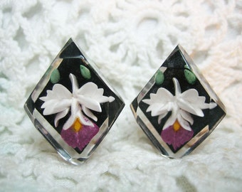 50s Reverse Carving & Painted Orchid Lucite Earrings