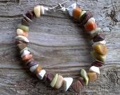Misc stone chips beaded bracelet 8 inch