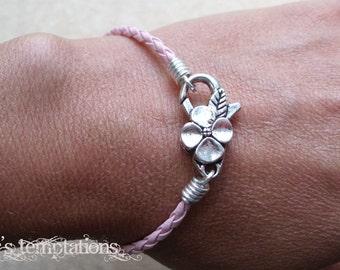 Pink Braided Leather Bracelet with Large Floral Clasp Stacking Bracelet Breast Cancer Awareness Bracelet Charm Bracelet Made in USA