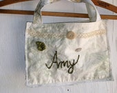 CUSTOM bridesmaid gift ivory embroidered bag, personalized gift, monogrammed, made to order kateblossom, gift, little purse, wedding