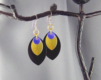 """Dragon Scales, Black and Gold Anodized Aluminum, Purple Anodized Aluminum Circles - 2 1/2"""" - Earrings - Hand Crafted Artisan Jewelry"""