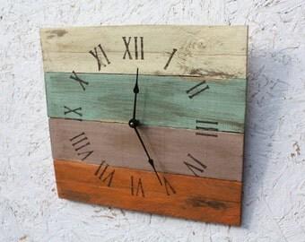 Handmade Painted Wall Clock. Earth tones. Beach House style. Coastal Chic. Wood Clock. Custom Colors. Pallet wood. Anniversary Gift.