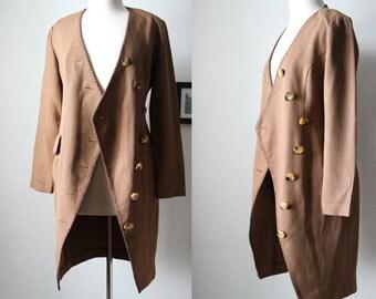 Vintage 70s Houndstooth Lightweight Coat/ Blazer Tortoise Buttons