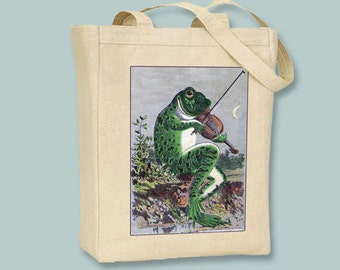 Quirky Vintage Violin Playing Frog Illustration on BLACK or NATURAL canvas tote -- selection of sizes available