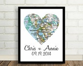 San Francisco Map Heart Print Poster Engagement Gift ANY CITY Worldwide Wedding Gift Valentines Day Gift Holiday Gift Christmas Gift