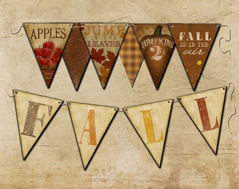 Fall Bunting Flags, Download, Print,  10 large flags