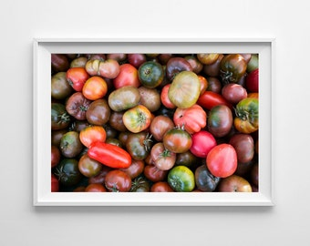 Food Photography Heirloom Tomatoes Kitchen Decor - Farmers Market Kitchen Art, Food Art, Vegetable Print - Oversized Art Prints Available