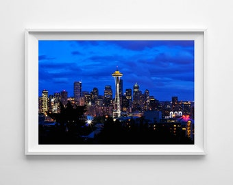 Seattle Skyline from Kerry Park at Night, Seattle Art, Space Needle, Blue Wall Art, Living Room Decor - Small and Large Wall Art Print Sizes