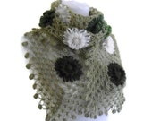 Green crochet scarf, crochet flower scarf, turkish scarf style, unique gift,valentines day, 2014 trends
