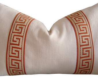 Greek Key Trim - Greek Key Pillows - Greek Key Fabric - Pillow Covers - Cushion Cover - Orange Greek Key - PILLOW COVER ONLY