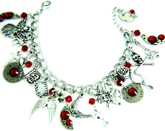 Novel Inspired Charm Bracelet - Nephilim - Demon Hunter - Vampire - Warlock - Werewolf - Fairy - Legends - Myth - Steampunk - Themed Jewelry