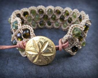 Boho Cuff Bracelet, Shades of green, Emerald, peridot and agua , Crochet Bohemian Boho Chic Jewelry