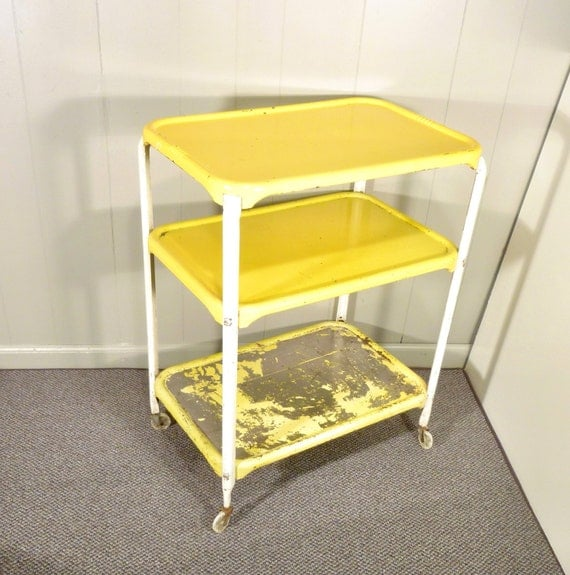 chippy yellow metal kitchen cart movable painted vintage 50s