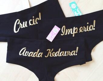 3 Pack Unforgivable Curses Underwear - Perfect Harry Potter Fan Gift Set - by So Effing Cute