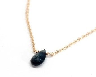 14k Solid Gold Blue Sapphire Tear Drop Necklace - Something Blue - Birthstone Necklace - Valentine's Day Gift