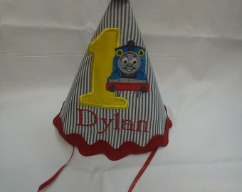Personalized thomas the train party hat on stripes