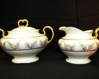 Limoges France William Guerin Factory Fine Porcelain Rose Creamer And Sugar Bowl