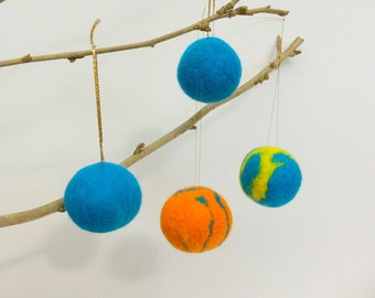 4 Felt Christmas Decorations, Blue baubles, felted baubles,  Christmas decor, Blue, Orange Baubles