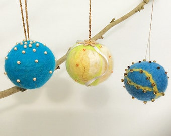3 Felt Christmas Decorations, Blue Baubles, Felted Baubles, Christmas Decor, Multicoloured Baubles ,  Baubles