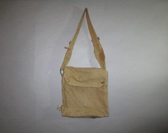 Military Canvas Shoulder Bag // Snap Close Flap // Adjustable Strap // Bottom Air Vents