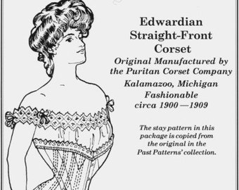 PP106 - Past Patterns #106, 1900-1909 Edwardian Straight Front Corset Sewing Pattern