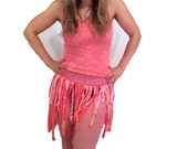 Sexy Pink coral neon festival wrap fringe style skirt with tube top burning man