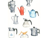 coffee pot watercolor giclee print - 8x10 // kitchen art // wall decor