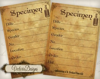 Steampunk Scientist Specimen Labels 5 x 3.5 inch printable images digital collage sheet VD0573