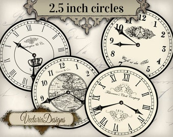 2.5 inch Vintage Clock images with without handles printable hobby crafting scrapbooking instant download digital collage sheet - VD0680