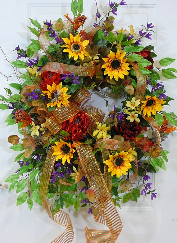 Sunflower Sparkle Deco Mesh Bow Fall Door Wreath Will Look