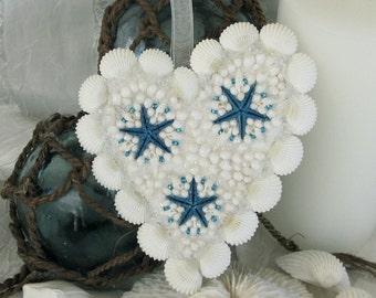 Blue Bay Starfish White Seashell Ornament